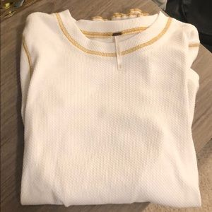 Free People Size M White & Good Zipper Long Sleeve